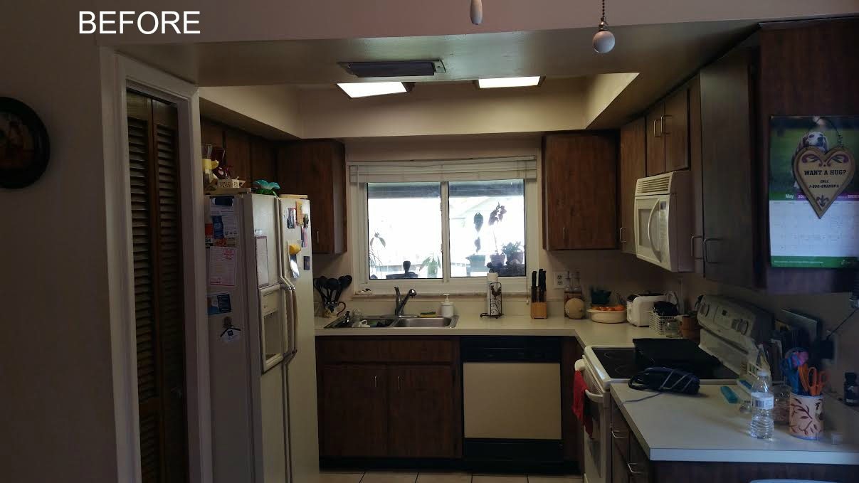 Before-Old closed kitchen opened up for more updated space!