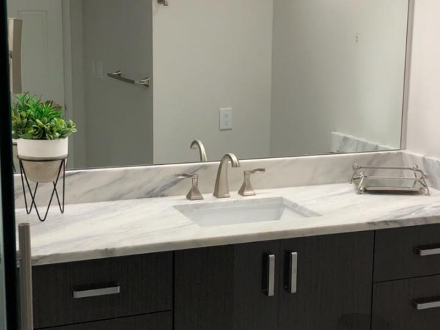 Totally updated and remodeled master bathroom.
